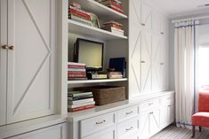 Suellen Gregory: Bedroom with wall of built-in storage and book shelves. White cabinetry with diamond . Built In Bookcase, Cabinet Detailing, Home, Built In Cabinets, Transitional Living Rooms, Built In Storage, House Design, Interior, Baseboard Styles