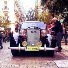 #street #car #antique #justmarried