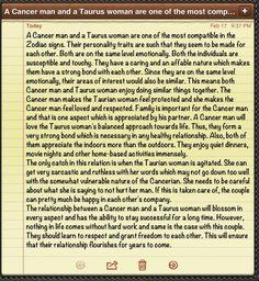 taurus dating cancer man