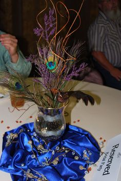 Peacock wedding centerpiece- 'centerpiece party' with friends and family