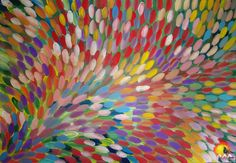 """ABORIGINAL ART PAINTING by GLORIA PETYARRE """"BUSH MEDICINE LEAVES"""" 201 x 137cm. This painting represents the Leaves that were traditionally used for medicine. This practice was used long before western medicine was introdused to the aboriginal people."""
