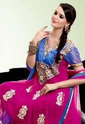 Outfit is a novel ways of getting yourself noticed. The dazzling magenta and blue net churidar suit have amazing embroidery patch work is done with resham, zari, sequins, stone and lace work. The entire ensemble makes an excellent wear. Matching blue santoon churidar and magenta net dupatta is available with this suit. Slight Color variations are possible due to differing screen and photograph resolutions.