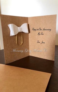 Excited to share this item from my shop. Second Year Anniversary Gift, 2nd Wedding Anniversary, Happy Anniversary Wishes, Cotton Anniversary Gifts, Anniversary Cards, Paper Clip Art, Paper Cards, Paperclip Bookmarks, Card Wedding