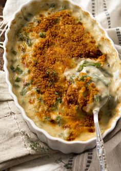 Cheddar Green Bean Casserole made from scratch with no cans of soup and fresh green beans. Perfect for Thanksgiving!