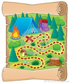 Camping Treasure Map! ~I printed a map of our Campground on the back & highlighted our campsite...