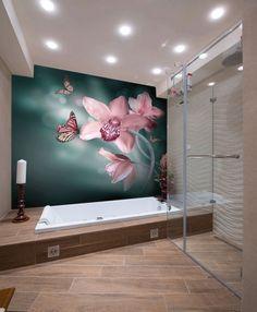 Das kleine Badezimmer größer wirken lassen - Blumen Fototapete