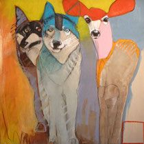 Family by Rebecca Haines - Aleta Pippin contemporary abstract artist in Santa Fe, New Mexico Abstract Animals, Watercolor Animals, Abstract Art, Abstract Portrait, Portrait Paintings, Art Paintings, Animal Paintings, Animal Drawings, Acrylic Paintings