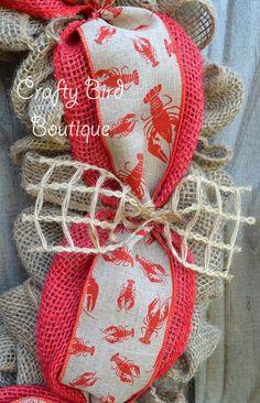 Crawfish Summer Red Chevron Burlap Wreath by CraftyBirdBoutique