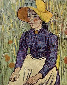 Peasant Woman Against a Background of Wheat...Vincent van Gogh 1890.