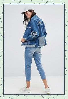 Model wearing Waven Tall patchwork denim jacket from ASOS
