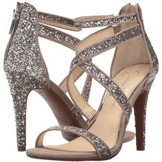 Jessica Simpson Ellenie 2 (Moon Grey Chucky Glitter) Women's Shoes ($70) ❤ liked on Polyvore featuring shoes, pumps, jessica simpson shoes, open toe shoes, gray shoes, glitter shoes and glitter open toe pumps