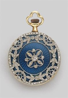Guilloche Blue Enamel and Diamond Pendant-Watch Platinum, gold, c. 1910 Guilloche Blue Enamel and Diamond Pendant-Watch Platinum, gold, c. Antique Watches, Vintage Watches, Antique Clocks, Antique Gold, Antique Jewelry, Vintage Jewelry, Vintage Brooches, Jewelry Accessories, Jewelry Design