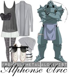 [Fullmetal Alchemist] Alphonse Elric I thought sports uniforms were difficult, but they don't even compare to a suit of armor! This is was probably the hardest casual cosplay I've done thus far, and honestly, I can't decide if I like the results. Oh well,Alphonse is so precious and lovable either way. <33 The tank top can be worn either tucked in or outside the skirt—doesn't really matter—and the sequined bra top goes underneath everything (obvs).