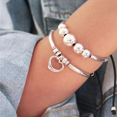stacked Joy Bracelet Set features the Wisdom and Sweetheart bracelets from our Joy Collection- sold as 1 set Silver Charm Bracelet, Silver Bangles, Sterling Silver Necklaces, Silver Jewelry, Silver Ring, Silver Earrings, Gold Jewellery, Diamond Jewelry, 925 Silver