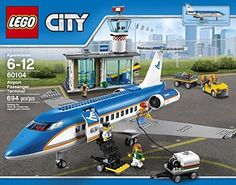 LEGO 60104 Airport Passenger Terminal for sale online Lego City Helicopter, Lego City Airport, Lego City Sets, Lego Brick, Legos, Aircraft, Geek Gear, Lego Ideas, Helicopters