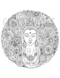 Printable Adult Colouring Page, Digital Download Print Your Own, Goddess Female Buddha Art Print, Original Art Work,