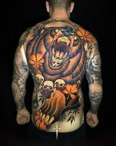 neo traditional back piece tattoo Traditional Tattoo Back Piece, Traditional Bear Tattoo, Traditional Tattoo Artwork, Neo Tattoo, Dark Art Tattoo, Norse Tattoo, Bear Tattoos, Dope Tattoos, Animal Tattoos
