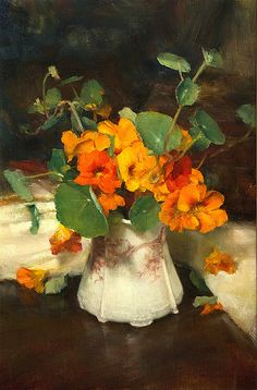 """Nasturtiums"" - Pintura a óleo sobre tela de John McCartin"