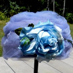 French Chic Vintage 1960s Blue Millinery Rose Tulle by ParisRain