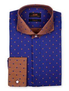 Men's Dress Shirt by Steven Land -  Squares Pattern Navy