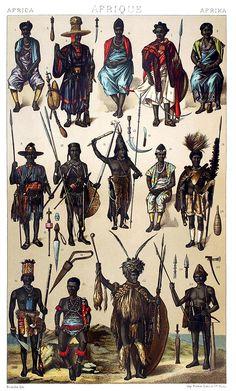 África: as pessoas do Oeste Africano costa - Gabão, Guiné, Senegal ...    Auguste Racinet, de Le traje historique (A história do traje) vol. 2, sob a direção de A. Racinet, Paris, seis volumes publicados entre 1877 e 1886.