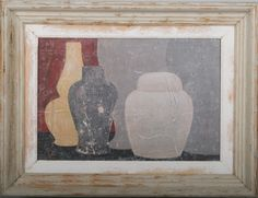 5B - Original acrylic painting on wood in antique frame by Peter Woodward
