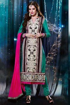 Teal Green Silk and Velvet Embroidered Festival Churidar Kameez Sku Code:223-4108SL970980 $ 87.00