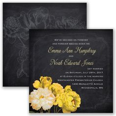 Rose Wedding Invitation - Canary Yellow - Chalkboard, two-sided, black at Invitations By David's Bridal