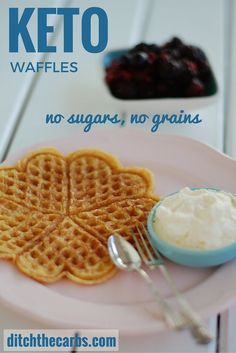 These have to be the easiest keto waffles out there, and no protein powders. Just a few ingredients and simple to make. Make a double or triple batch and freeze them. Make them sweet or savoury. #sugarfree #lowcarb #lchf | ditchthecarbs.com
