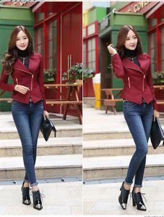 Best 2014 Women Jacket Autumn Winter New Korean Casual Jacket Zipper Jacket Female Long-sleeved Jacket - Black Wine Red - Online with $36.65/Piece | DHgate
