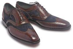 Men Brown Brogue Wingtip Genuine Leather Shoes with Blue Suede Suede Leather Shoes, Leather Skin, Brown Brogues, Gentleman Shoes, Blue Suede, Oxford Shoes, Dress Shoes, Men, Boots