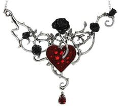 Bed of Blood Roses Choker Necklace by Willow's Hollow. $98.71. Rich with beautiful symbolism, the Bed of Blood Roses choker necklace portrays an image straight from the most beautiful of gothic tales, showing black roses nourished in the blood of a heart. The wide pendant consists of the sculpted tangle of thorny vines, sprouting from a bloody heart to blossom as black roses. All of this is sculpted of the finest quality English pewter, and accented by the enamel work...