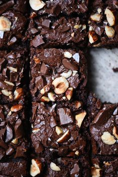 These gluten free and vegan brownies are PERFECTLY fudgy, moist and nutty! We've declared our love for tahini many times in various culinary settings - this sa Vegan Brownie, Brownie Recipes, Chocolate Recipes, Chocolate Bars, Chocolate Hazelnut, Hazelnut Recipes, Vegan Dessert Recipes, Vegan Sweets, Tofu Recipes