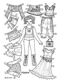 Karen`s Paper Dolls: Malene 1-6 Paper Doll to Colour. Malene 1-6 påklædningsdukke til at farvelægge.