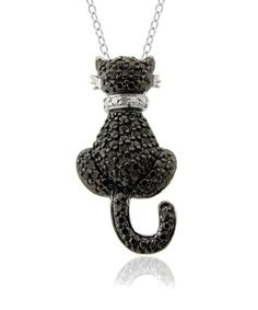 I have one of these - and also a silver one with a pink collar - Black & White Diamond Cat Pendant Necklace