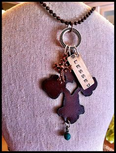 "Hand Stamped, Rusty, Rustic, Recycled Metal Cross Pendant Charm Necklace ""BLESSED"""