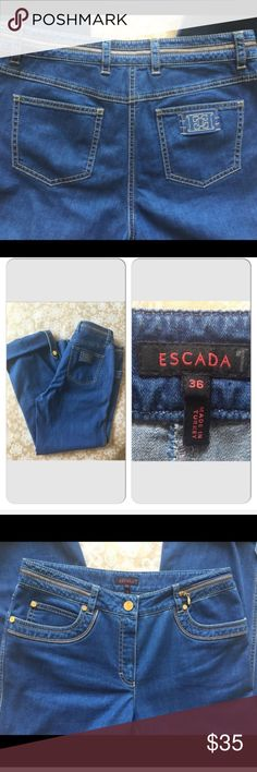 """ESCADA cropped jeans. Gorgeous ESCADA skinny rolled cropped jeans.  Soft and luxurious fabric. 98% cotton, 2% elastane. Right Back pocket with logo. Unique style. Excellent condition. Waist 15"""" Rise 9"""" Inseam 25"""" Size EU 36, US 6 Escada Jeans Ankle & Cropped"""