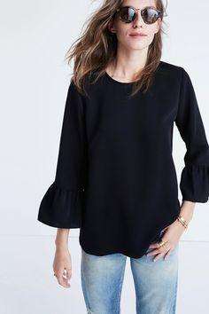 Bell-Sleeve Top #blouse #black