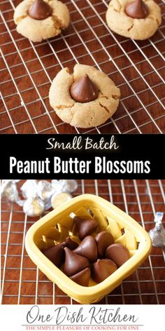 If you're a fan of chocolate and peanut butter, you will absolutely love these Peanut Butter Kiss Cookies. They're also known as Peanut Butter Blossoms and they're heavenly. This small batch cookie recipe will yield 6 Peanut Butter Blossom cookies. Chocolate Chip Cookies, Peanut Butter Blossom Cookies, Chewy Peanut Butter Cookies, Gluten Free Peanut Butter, Peanut Butter Cookie Recipe, Chocolate Cookie Recipes, Easy Cookie Recipes, Hershey Chocolate, Chocolate Lovers