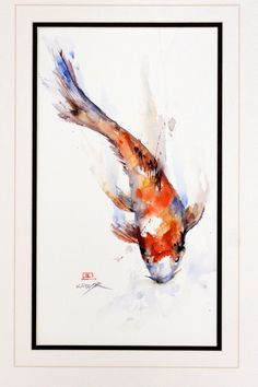 KOI Original Watercolor Painting By Dean Crouser -- inspiration, maybe with some cherry blossoms.