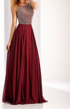 Charming Burgundy Prom Dress,Beaded Prom Dress,Custom Made Evening Dress,17413