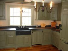 My wife and I have been restoring a 1776 colonial for the last 4 years. It had once been abandoned before suffering a renovation. We have successfully transformed a couple other rooms and. Primitive Kitchen Cabinets, Green Kitchen Cabinets, Kitchen Cabinet Styles, Farmhouse Sink Kitchen, Granite Kitchen, Kitchen Colors, Kitchen Ideas, Kitchen Backsplash, Kitchen Sink