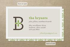 Family Monogram Business Cards
