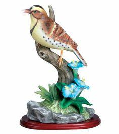 Meadowlark Bird Figurine Porcelain with Flowers on Wood Base