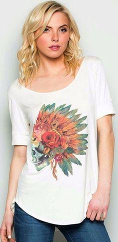 COWGIRL GYPSY Sugar Skull Indian Headdress SOUTHWEST TEE shirt Western SMALL #Unbranded #TEE
