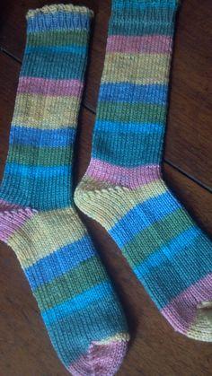 Sweet striped loom knitted socks for my girl! Basic rib cuff sock pattern via: http://www.knittingboard.com/articles.asp?id=231 Knit on the adjustable sock loom: http://www.knittingboard.com/product_p/sock%20loom.htm