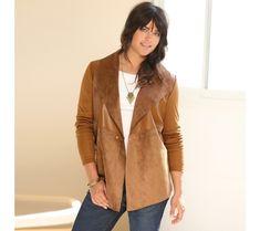 Sako z dvoch materiálov Parka, Red Leather, Leather Jacket, Plus Size Beauty, Blazer, Sweaters, Jackets, Women, France
