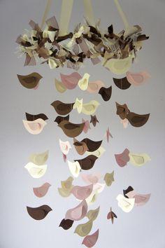 Pink & Brown Nursery Decor- Bird Mobile,
