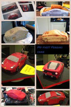 My first car cake : a Ferrari Lamborghini Cake, Ferrari Cake, Fish Cake Birthday, Birthday Cakes For Teens, Truck Cakes, Car Cakes, Fondant Cake Tutorial, Teen Cakes, Pastry Design