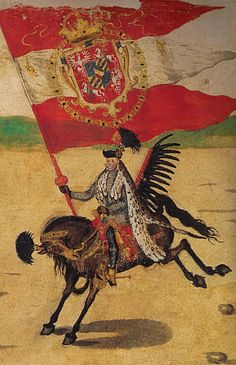 A Great 'Chorąży' of the Polish Crown with the Royal Banner of king Sigismund III Vasa, (?)1589 (Polish-Lthuanian Winged Hussard).